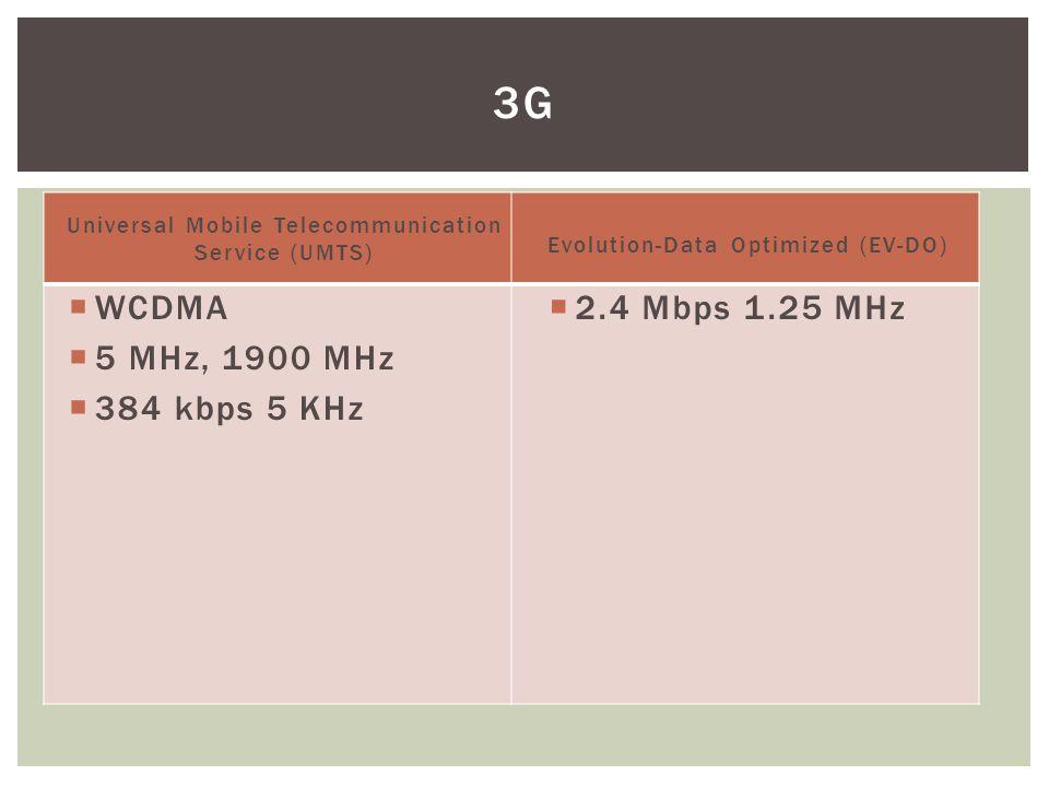 Universal Mobile Telecommunication Service (UMTS)  WCDMA  5 MHz, 1900 MHz  384 kbps 5 KHz Evolution-Data Optimized (EV-DO)  2.4 Mbps 1.25 MHz 3G