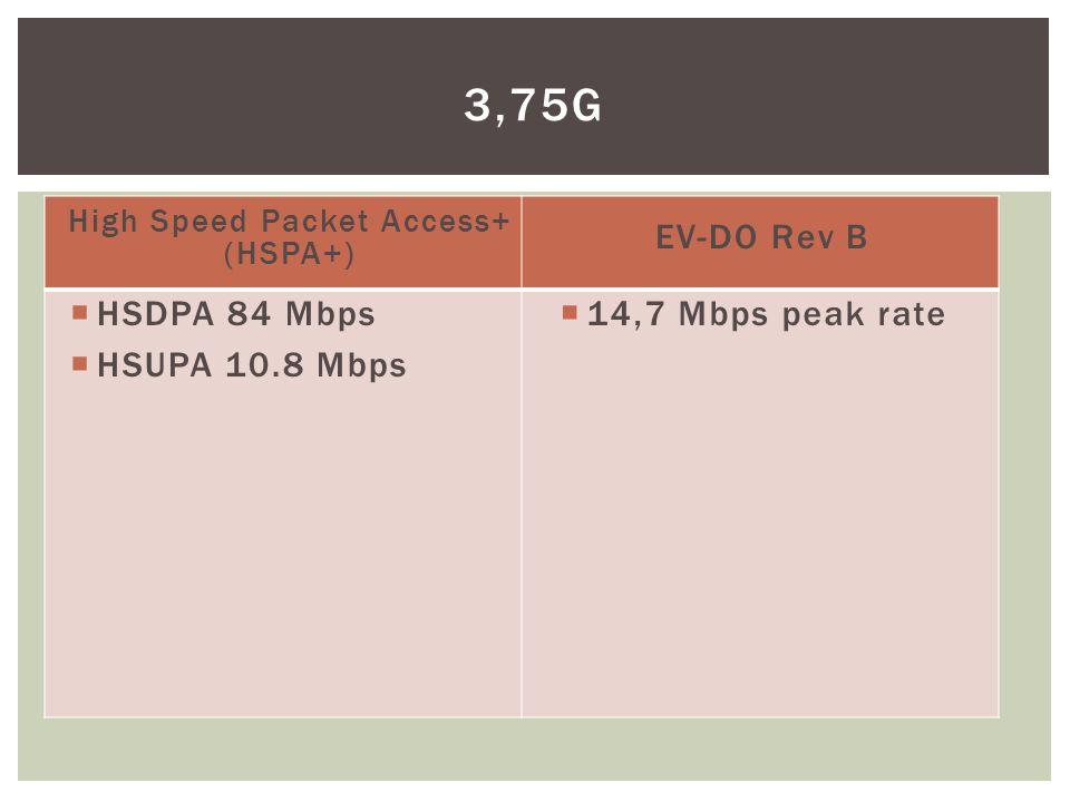High Speed Packet Access+ (HSPA+)  HSDPA 84 Mbps  HSUPA 10.8 Mbps EV-DO Rev B  14,7 Mbps peak rate 3,75G