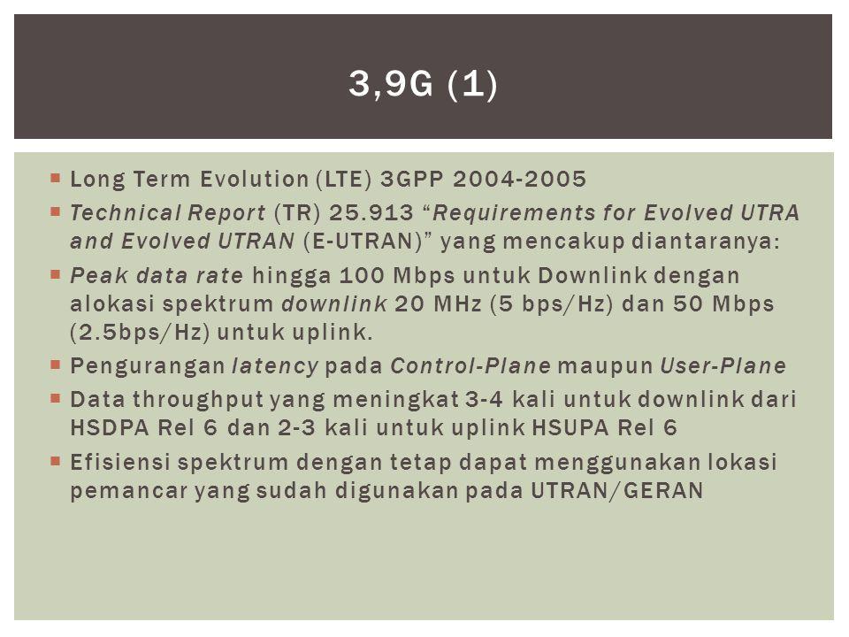  Long Term Evolution (LTE) 3GPP 2004-2005  Technical Report (TR) 25.913 Requirements for Evolved UTRA and Evolved UTRAN (E-UTRAN) yang mencakup diantaranya:  Peak data rate hingga 100 Mbps untuk Downlink dengan alokasi spektrum downlink 20 MHz (5 bps/Hz) dan 50 Mbps (2.5bps/Hz) untuk uplink.