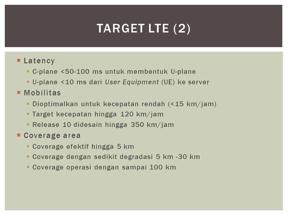  Latency  C-plane <50-100 ms untuk membentuk U-plane  U-plane <10 ms dari User Equipment (UE) ke server  Mobilitas  Dioptimalkan untuk kecepatan rendah (<15 km/jam)  Target kecepatan hingga 120 km/jam  Release 10 didesain hingga 350 km/jam  Coverage area  Coverage efektif hingga 5 km  Coverage dengan sedikit degradasi 5 km -30 km  Coverage operasi dengan sampai 100 km TARGET LTE (2)