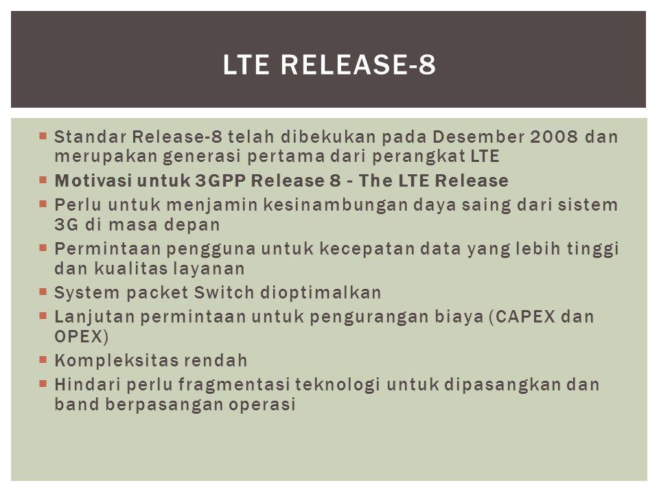  Standar Release-8 telah dibekukan pada Desember 2008 dan merupakan generasi pertama dari perangkat LTE  Motivasi untuk 3GPP Release 8 - The LTE Release  Perlu untuk menjamin kesinambungan daya saing dari sistem 3G di masa depan  Permintaan pengguna untuk kecepatan data yang lebih tinggi dan kualitas layanan  System packet Switch dioptimalkan  Lanjutan permintaan untuk pengurangan biaya (CAPEX dan OPEX)  Kompleksitas rendah  Hindari perlu fragmentasi teknologi untuk dipasangkan dan band berpasangan operasi LTE RELEASE-8