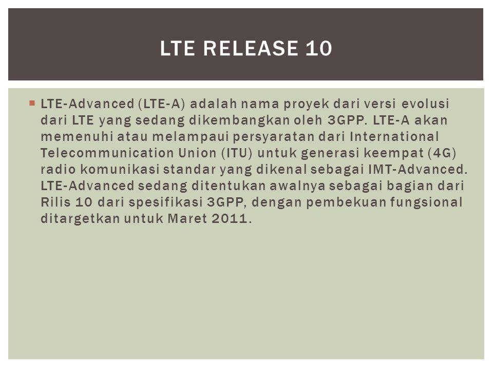 LTE-Advanced (LTE-A) adalah nama proyek dari versi evolusi dari LTE yang sedang dikembangkan oleh 3GPP. LTE-A akan memenuhi atau melampaui persyarat