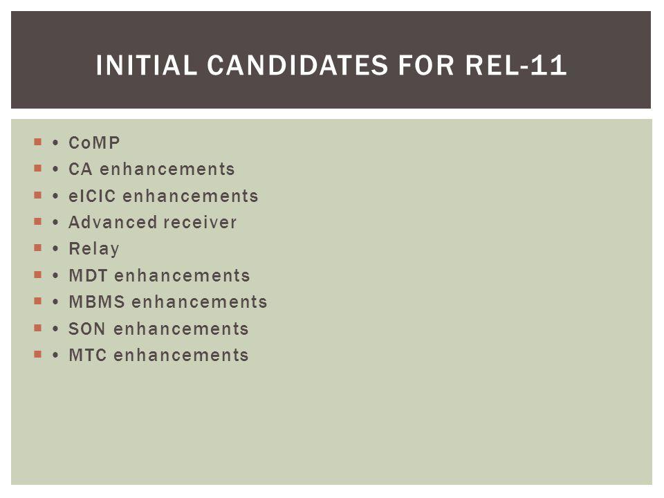  CoMP  CA enhancements  eICIC enhancements  Advanced receiver  Relay  MDT enhancements  MBMS enhancements  SON enhancements  MTC enhancements INITIAL CANDIDATES FOR REL-11