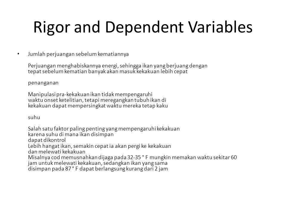 Rigor and Dependent Variables Jumlah perjuangan sebelum kematiannya Perjuangan menghabiskannya energi, sehingga ikan yang berjuang dengan tepat sebelu