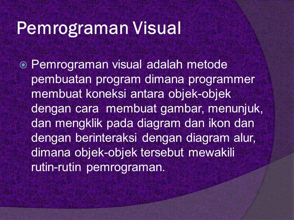 Pemrograman Visual  Dalam pengeksekusian kode programnya, pemrograman visual merupakan konsep event-driven, yaitu pengeksekusian yang didasarkan atas kejadian(event) tertentu.