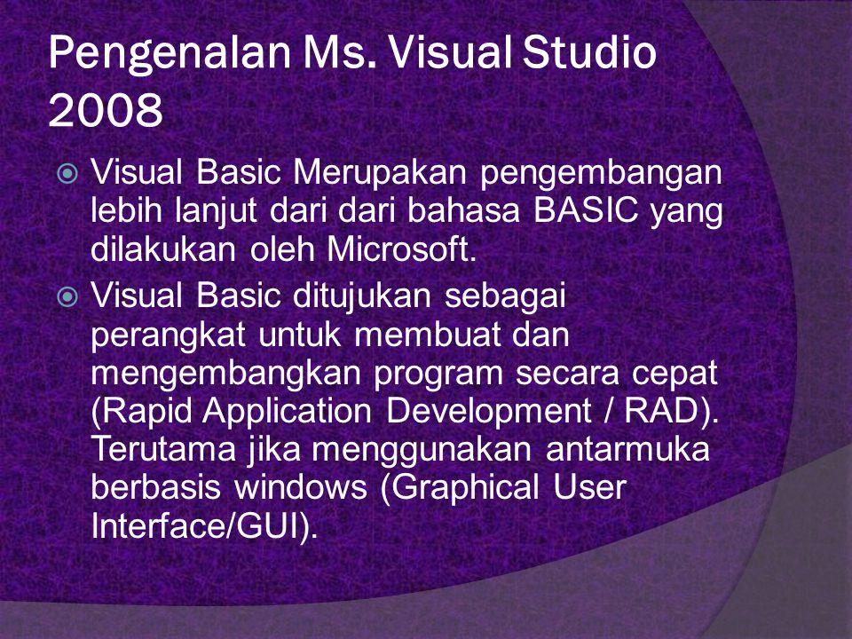 Visual Basic 1.0 dirilis pada tahun 1991  DOS Visual Basic 2.0dirilis pada tahun 1992 Visual Basic 3.0dirilis pada tahun 1993 Visual Basic 4.0dirilis pada tahun 1995 Visual Basic 5.0dirilis pada tahun 1997 Visual Basic 6.0dirilis pada tahun 1998 Visual Basic.NET diliris pada bulan Februari 2002