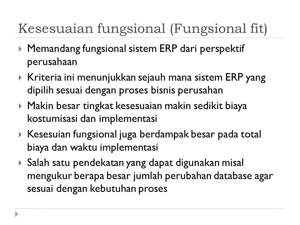 Kesesuaian fungsional (Fungsional fit)  Memandang fungsional sistem ERP dari perspektif perusahaan  Kriteria ini menunjukkan sejauh mana sistem ERP