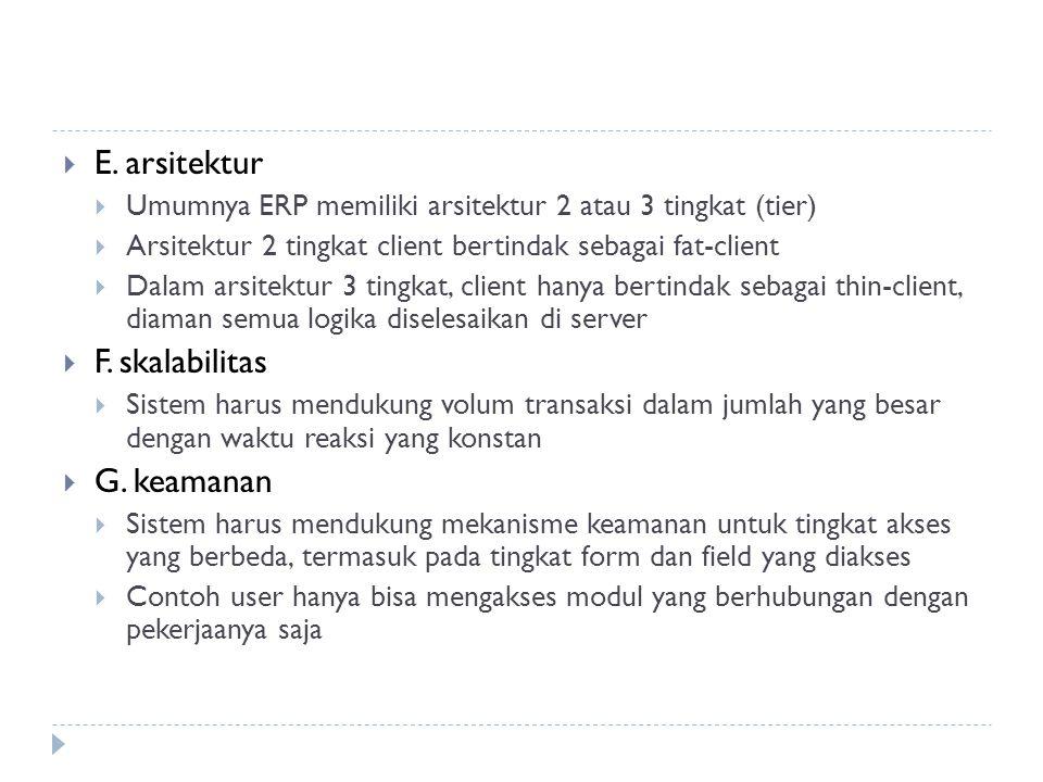 E. arsitektur  Umumnya ERP memiliki arsitektur 2 atau 3 tingkat (tier)  Arsitektur 2 tingkat client bertindak sebagai fat-client  Dalam arsitektu