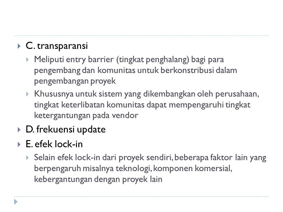  C. transparansi  Meliputi entry barrier (tingkat penghalang) bagi para pengembang dan komunitas untuk berkonstribusi dalam pengembangan proyek  Kh