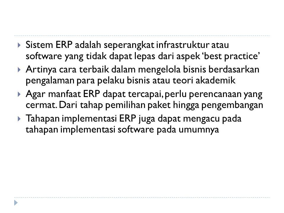  Sistem ERP adalah seperangkat infrastruktur atau software yang tidak dapat lepas dari aspek 'best practice'  Artinya cara terbaik dalam mengelola b