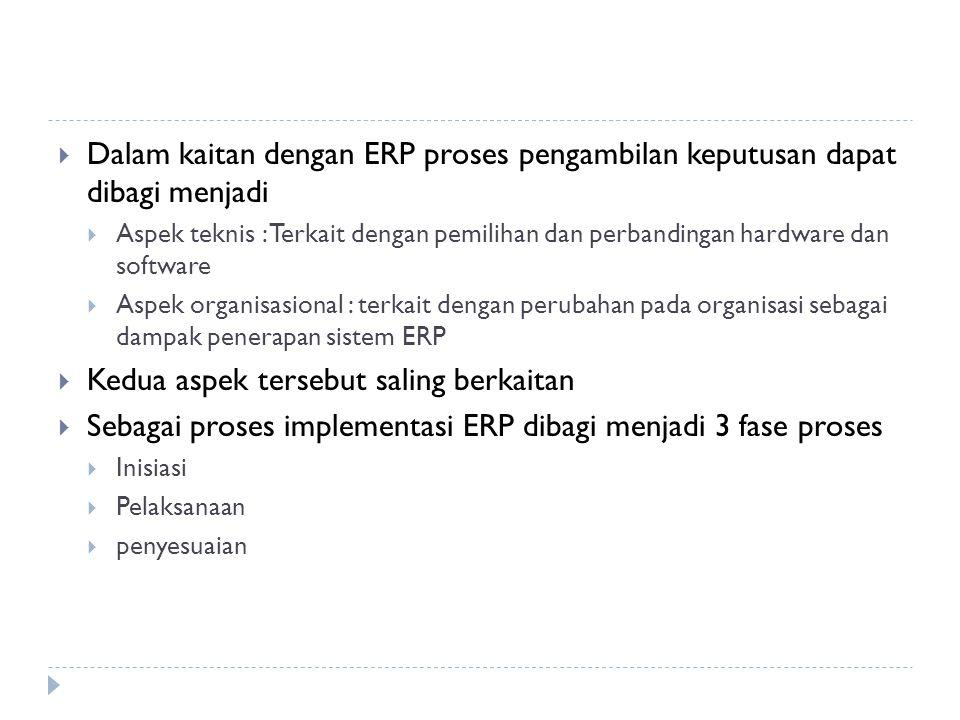  Dalam kaitan dengan ERP proses pengambilan keputusan dapat dibagi menjadi  Aspek teknis : Terkait dengan pemilihan dan perbandingan hardware dan so