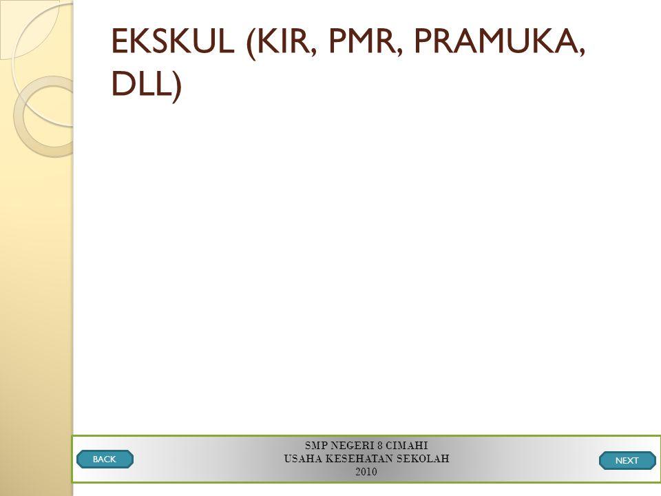 EKSKUL (KIR, PMR, PRAMUKA, DLL) SMP NEGERI 8 CIMAHI USAHA KESEHATAN SEKOLAH 2010 BACK NEXT