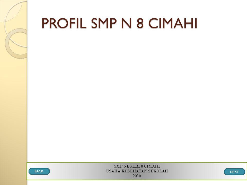 PROFIL SMP N 8 CIMAHI SMP NEGERI 8 CIMAHI USAHA KESEHATAN SEKOLAH 2010 BACK NEXT