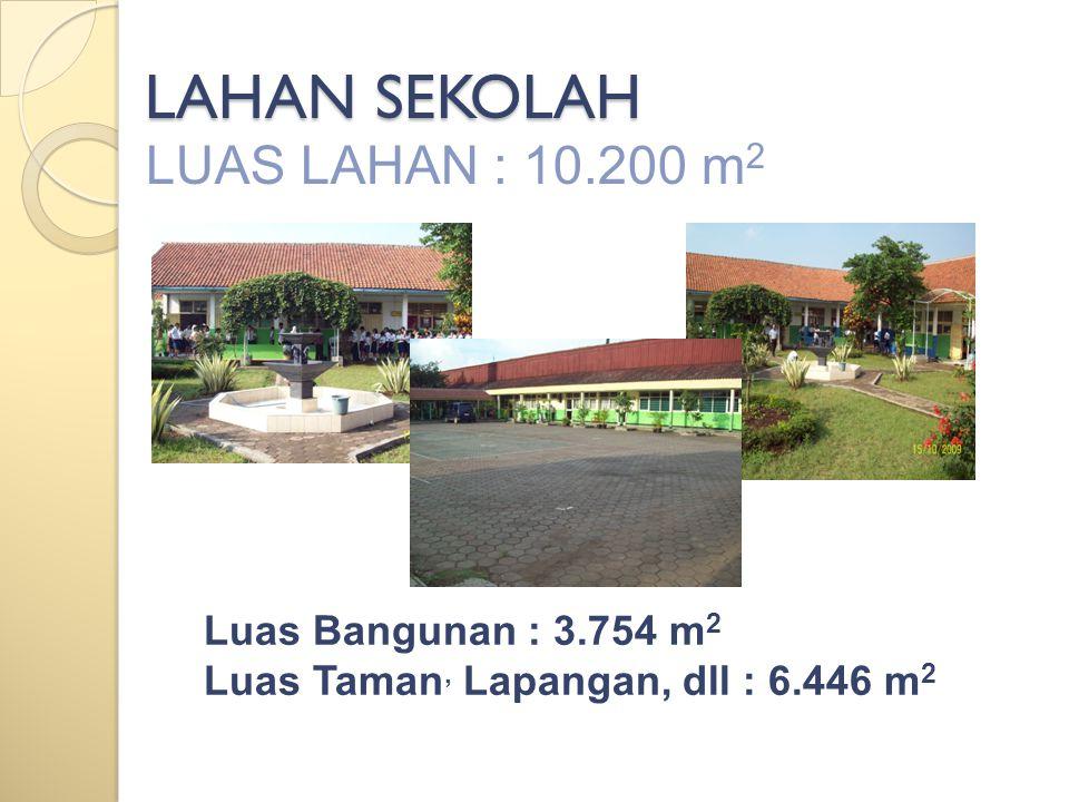 LAHAN SEKOLAH LUAS LAHAN : 10.200 m 2 Luas Bangunan : 3.754 m 2 Luas Taman, Lapangan, dll : 6.446 m 2