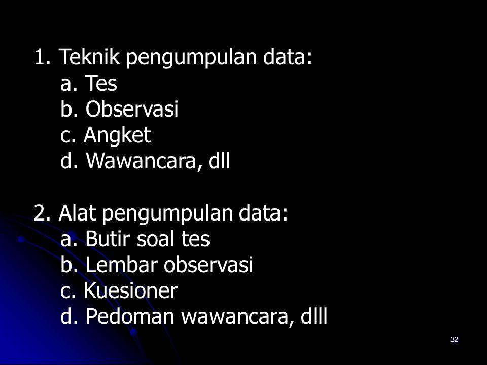 31 Berkaitan dengan pengumpulan data  Data apa saja yang harus dikumpulkan ?  Bagaimana teknik dan instrumen untuk mengumpulkan data ?  Siapa yang