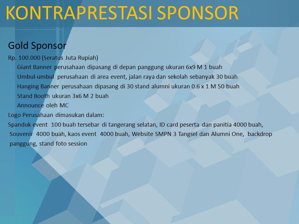 KONTRAPRESTASI SPONSOR Gold Sponsor Rp. 100.000 (Seratus Juta Rupiah) Giant Banner perusahaan dipasang di depan panggung ukuran 6x9 M 1 buah Umbul-umb