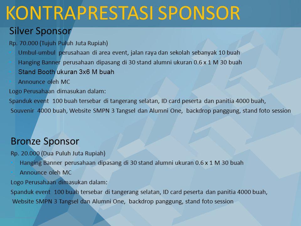 Silver Sponsor Rp. 70.000 (Tujuh Puluh Juta Rupiah) Umbul-umbul perusahaan di area event, jalan raya dan sekolah sebanyak 10 buah Hanging Banner perus