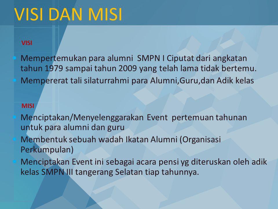 VISI DAN MISI Mempertemukan para alumni SMPN I Ciputat dari angkatan tahun 1979 sampai tahun 2009 yang telah lama tidak bertemu. Mempererat tali silat