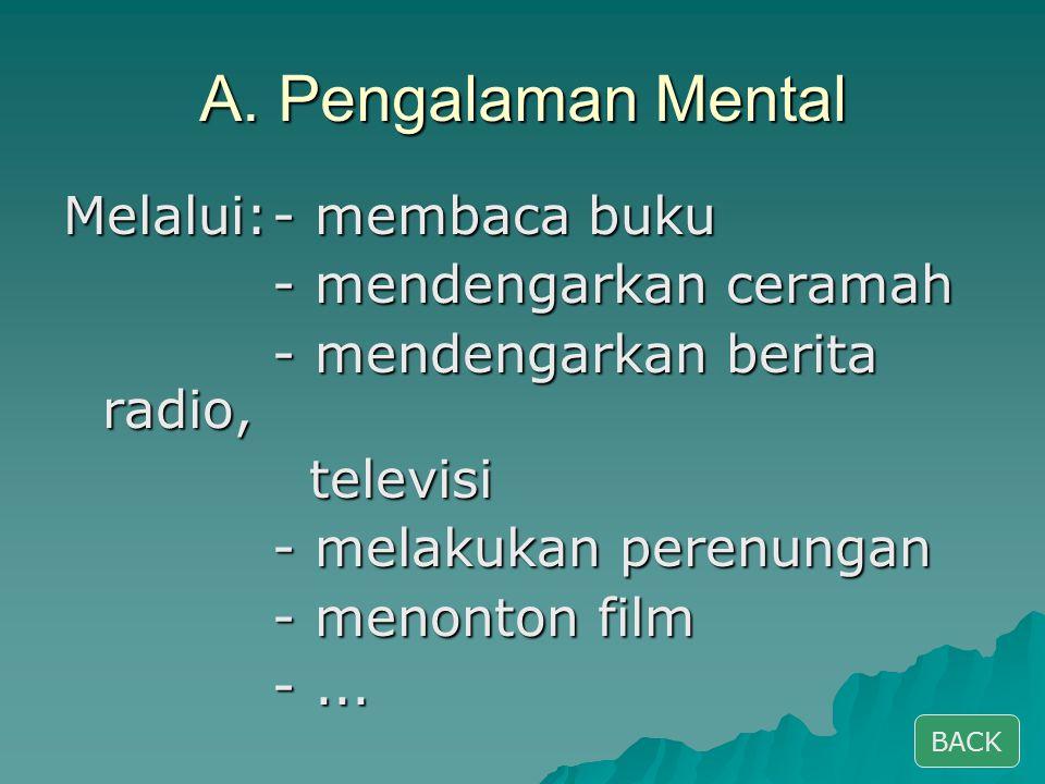 A. Pengalaman Mental Melalui:- membaca buku - mendengarkan ceramah - mendengarkan berita radio, televisi televisi - melakukan perenungan - menonton fi