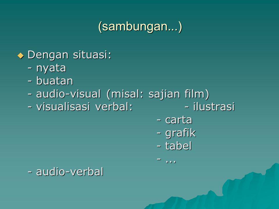 (sambungan...)  Dengan situasi: - nyata - buatan - audio-visual (misal: sajian film) - visualisasi verbal:- ilustrasi - carta - grafik - tabel -...