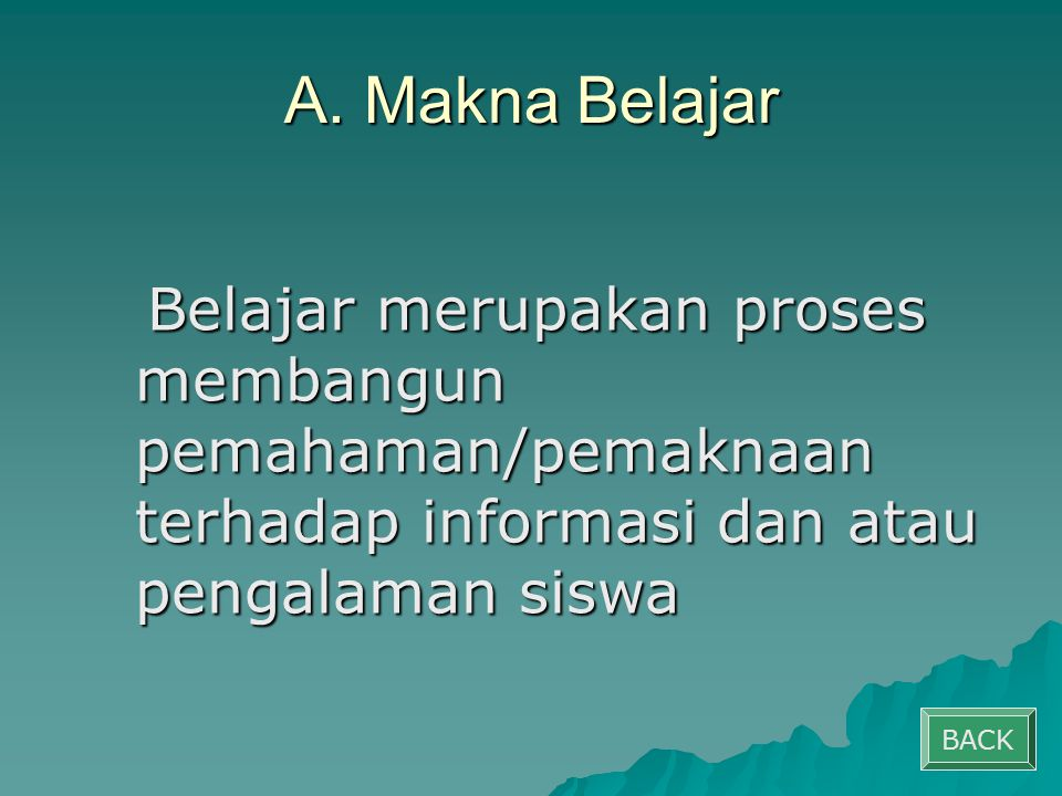 B.Berpusat pada Siswa Siswa sebagai subjek belajar.