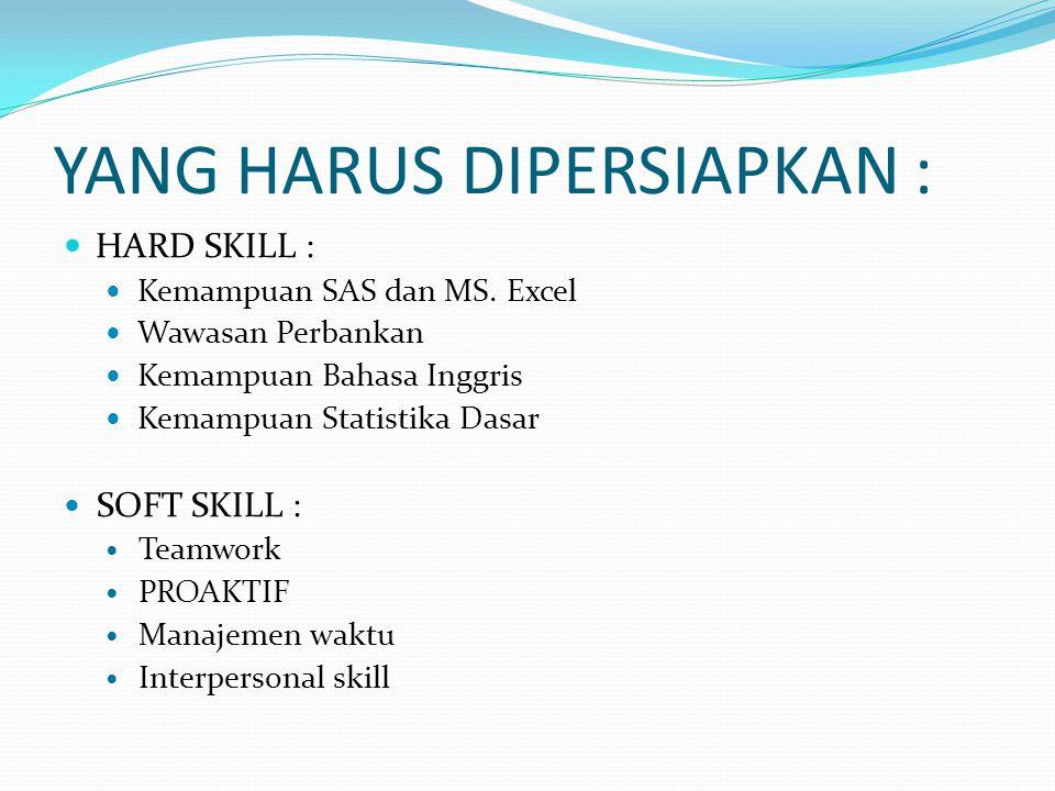 YANG HARUS DIPERSIAPKAN : HARD SKILL : Kemampuan SAS dan MS.