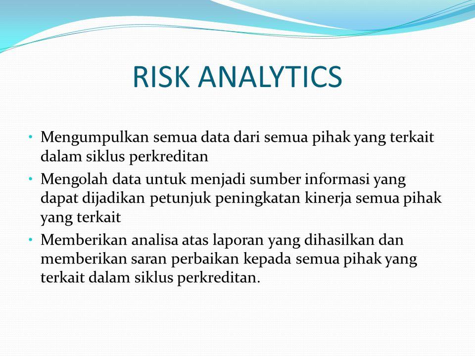 RISK ANALYTICS Mengumpulkan semua data dari semua pihak yang terkait dalam siklus perkreditan Mengolah data untuk menjadi sumber informasi yang dapat dijadikan petunjuk peningkatan kinerja semua pihak yang terkait Memberikan analisa atas laporan yang dihasilkan dan memberikan saran perbaikan kepada semua pihak yang terkait dalam siklus perkreditan.