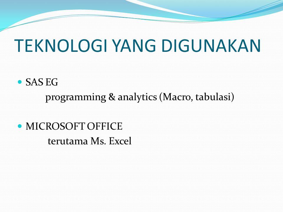 TEKNOLOGI YANG DIGUNAKAN SAS EG programming & analytics (Macro, tabulasi) MICROSOFT OFFICE terutama Ms. Excel