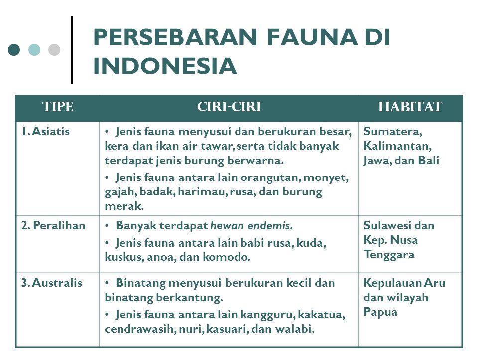 PERSEBARAN FAUNA DI INDONESIA TipeCiri-ciriHabitat 1. Asiatis Jenis fauna menyusui dan berukuran besar, kera dan ikan air tawar, serta tidak banyak te