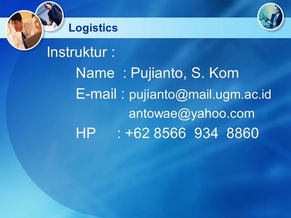 Logistics Instruktur : Name : Pujianto, S. Kom E-mail : pujianto@mail.ugm.ac.id antowae@yahoo.com HP : +62 8566 934 8860