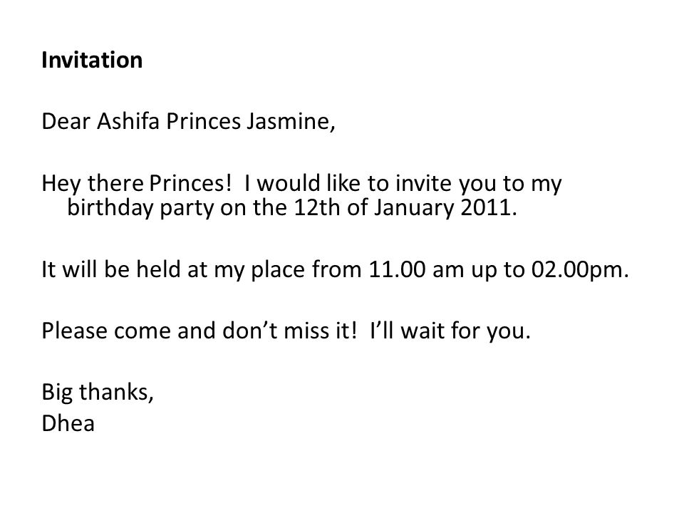 Invitation Dear Ashifa Princes Jasmine, Hey there Princes.
