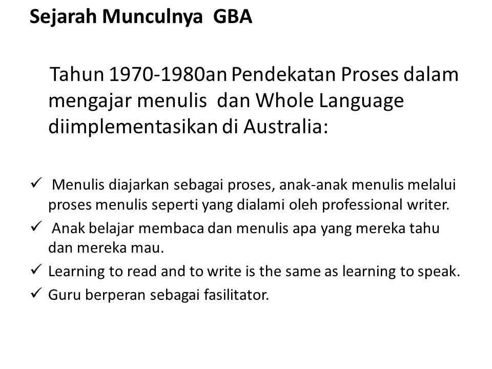 Sejarah Munculnya GBA Tahun 1970-1980an Pendekatan Proses dalam mengajar menulis dan Whole Language diimplementasikan di Australia: Menulis diajarkan