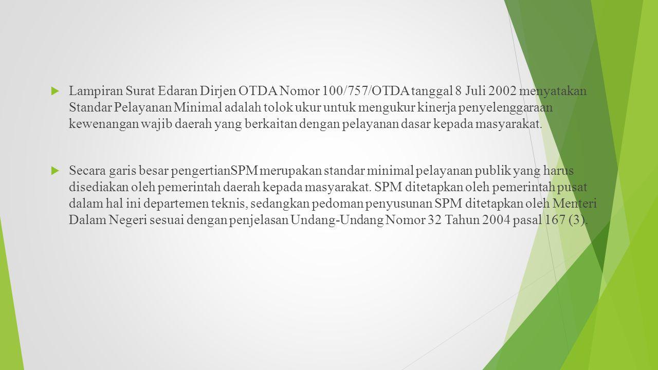  Lampiran Surat Edaran Dirjen OTDA Nomor 100/757/OTDA tanggal 8 Juli 2002 menyatakan Standar Pelayanan Minimal adalah tolok ukur untuk mengukur kiner