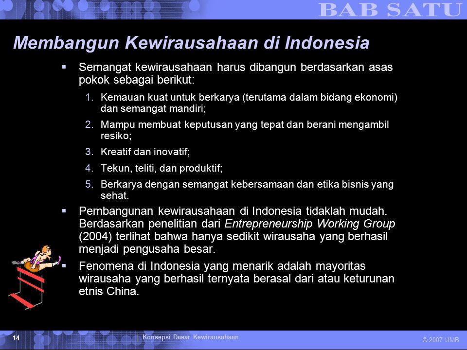 Konsepsi Dasar Kewirausahaan © 2007 UMB 14 Membangun Kewirausahaan di Indonesia  Semangat kewirausahaan harus dibangun berdasarkan asas pokok sebagai