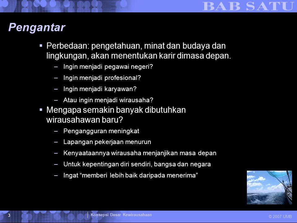 Konsepsi Dasar Kewirausahaan © 2007 UMB 4 Pengantar  Tabel 1.1.