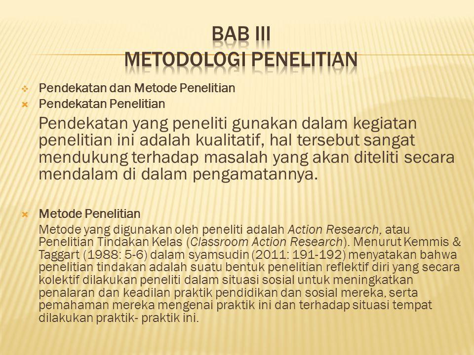 Pendekatan dan Metode Penelitian  Pendekatan Penelitian Pendekatan yang peneliti gunakan dalam kegiatan penelitian ini adalah kualitatif, hal terse
