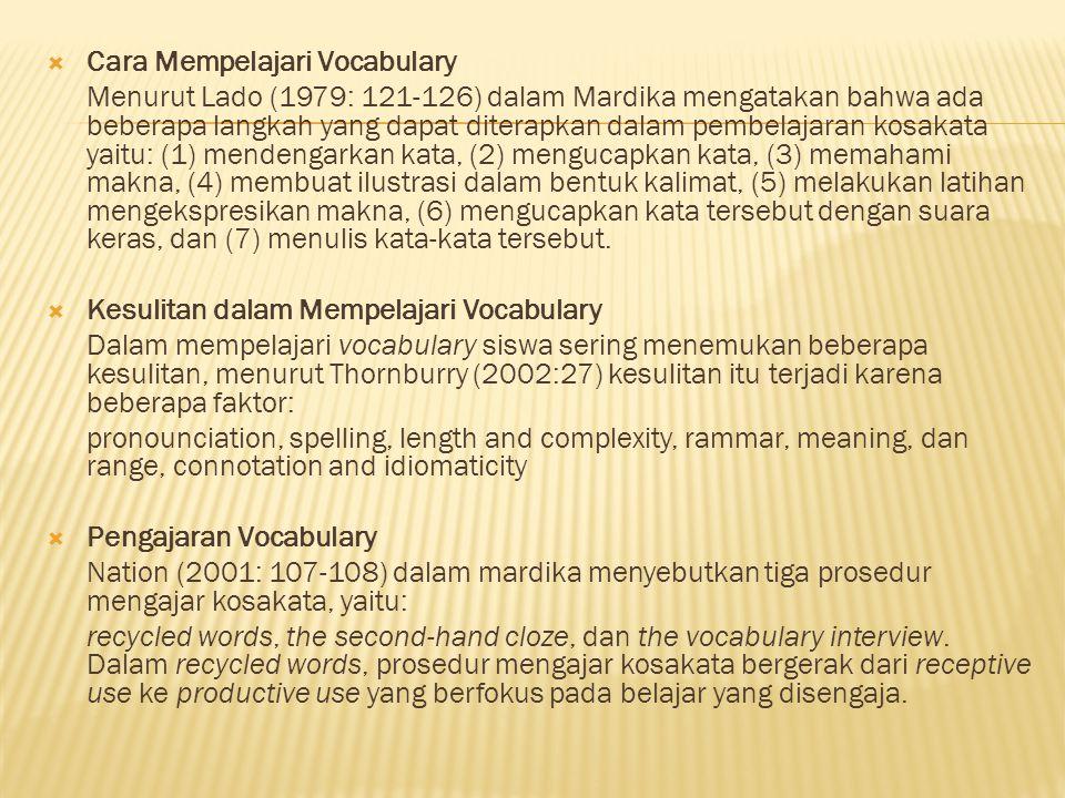  Cara Mempelajari Vocabulary Menurut Lado (1979: 121-126) dalam Mardika mengatakan bahwa ada beberapa langkah yang dapat diterapkan dalam pembelajara