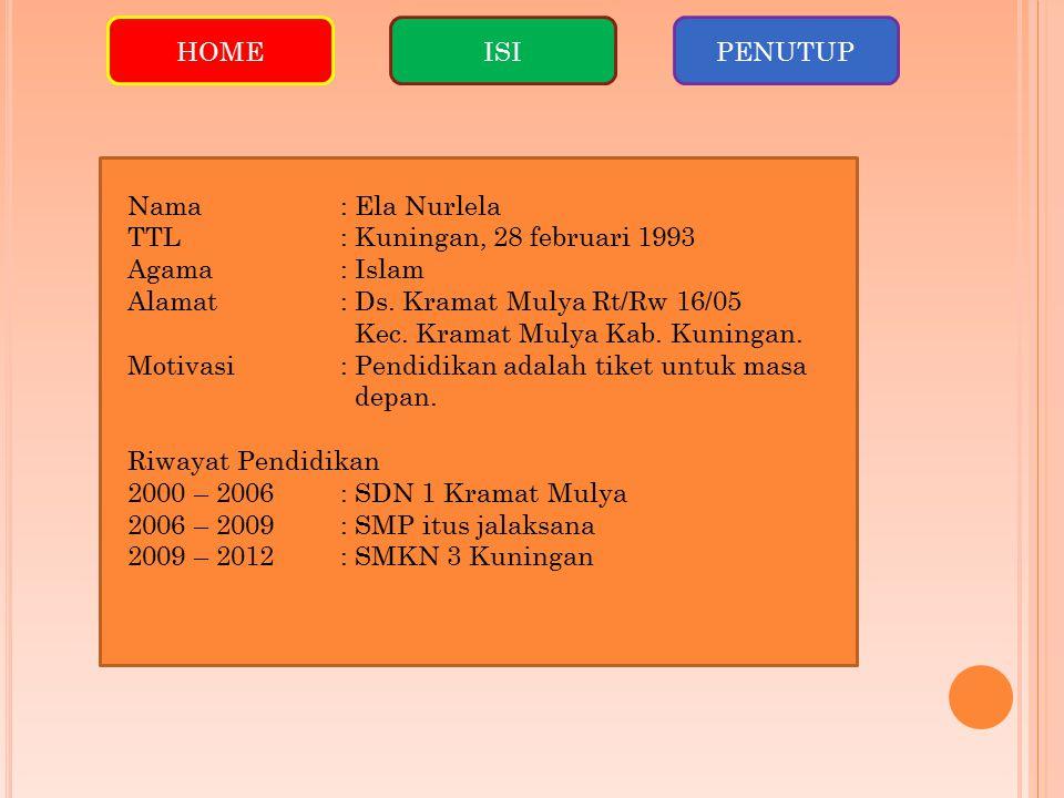 HOMEISIPENUTUP Nama: Ela Nurlela TTL: Kuningan, 28 februari 1993 Agama: Islam Alamat: Ds.