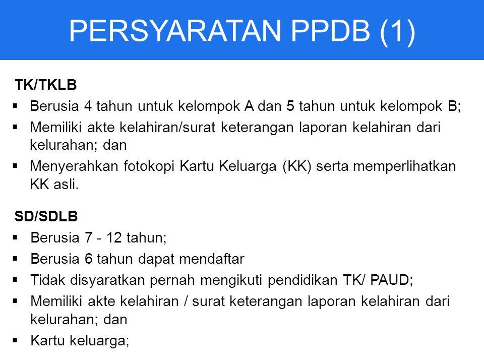 PERSYARATAN PPDB (1) TK/TKLB  Berusia 4 tahun untuk kelompok A dan 5 tahun untuk kelompok B;  Memiliki akte kelahiran/surat keterangan laporan kelahiran dari kelurahan; dan  Menyerahkan fotokopi Kartu Keluarga (KK) serta memperlihatkan KK asli.