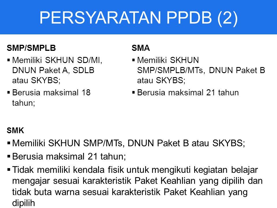 PERSYARATAN PPDB (2) SMP/SMPLB  Memiliki SKHUN SD/MI, DNUN Paket A, SDLB atau SKYBS;  Berusia maksimal 18 tahun; SMA  Memiliki SKHUN SMP/SMPLB/MTs, DNUN Paket B atau SKYBS;  Berusia maksimal 21 tahun SMK  Memiliki SKHUN SMP/MTs, DNUN Paket B atau SKYBS;  Berusia maksimal 21 tahun;  Tidak memiliki kendala fisik untuk mengikuti kegiatan belajar mengajar sesuai karakteristik Paket Keahlian yang dipilih dan tidak buta warna sesuai karakteristik Paket Keahlian yang dipilih