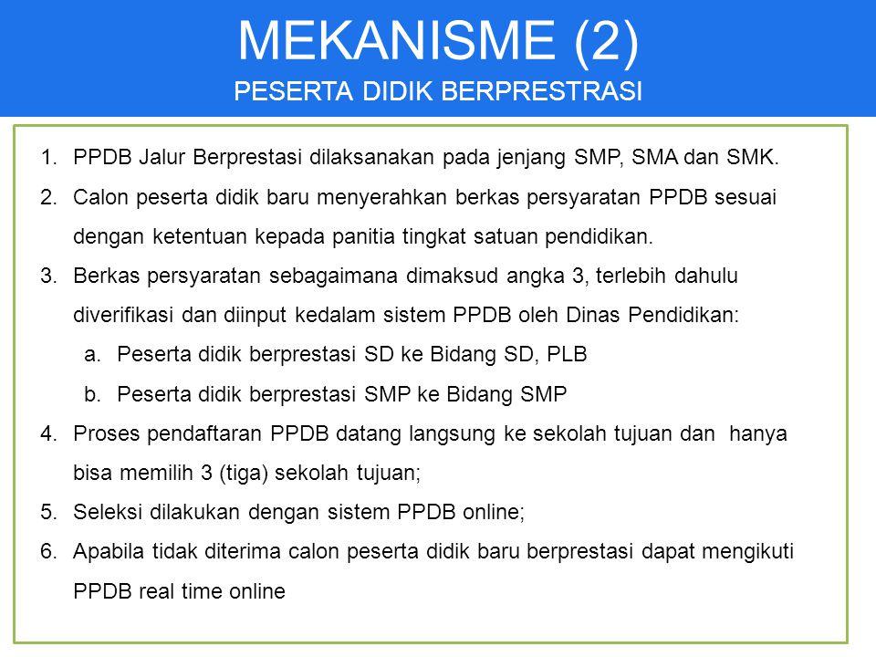 21 1.PPDB Jalur Berprestasi dilaksanakan pada jenjang SMP, SMA dan SMK.