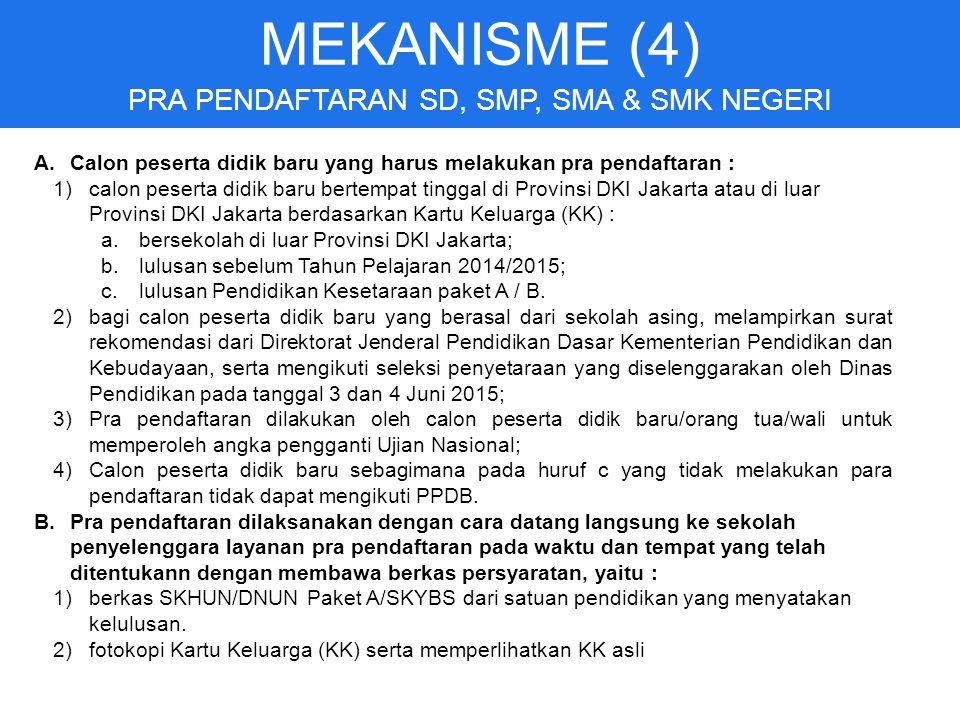 MEKANISME (4) PRA PENDAFTARAN SD, SMP, SMA & SMK NEGERI A.Calon peserta didik baru yang harus melakukan pra pendaftaran : 1)calon peserta didik baru bertempat tinggal di Provinsi DKI Jakarta atau di luar Provinsi DKI Jakarta berdasarkan Kartu Keluarga (KK) : a.bersekolah di luar Provinsi DKI Jakarta; b.lulusan sebelum Tahun Pelajaran 2014/2015; c.lulusan Pendidikan Kesetaraan paket A / B.