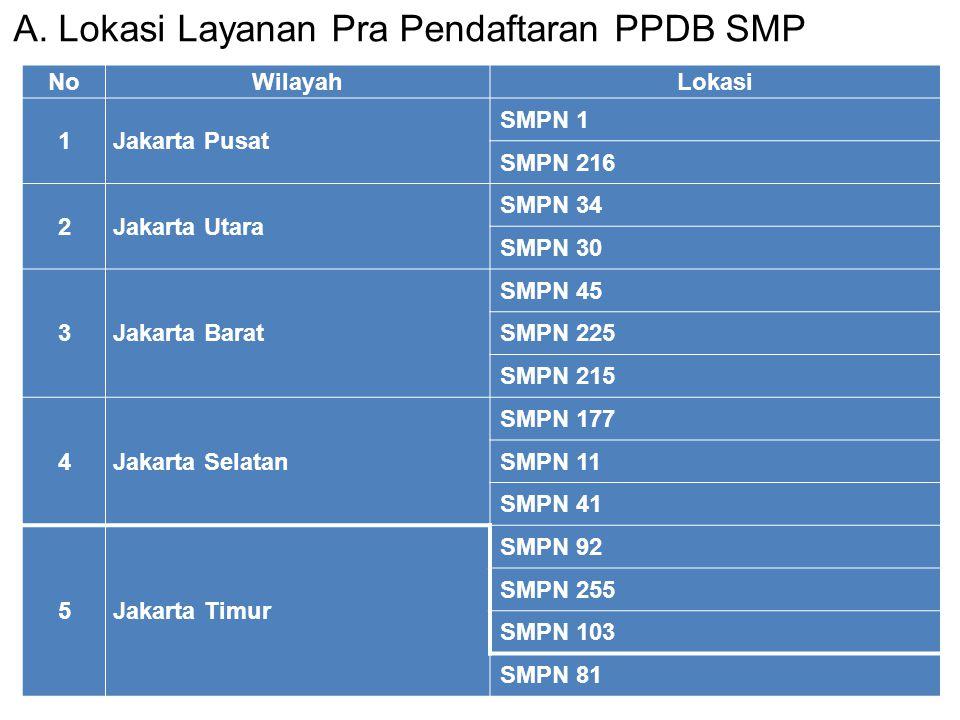 A. Lokasi Layanan Pra Pendaftaran PPDB SMP NoWilayahLokasi 1Jakarta Pusat SMPN 1 SMPN 216 2Jakarta Utara SMPN 34 SMPN 30 3Jakarta Barat SMPN 45 SMPN 2