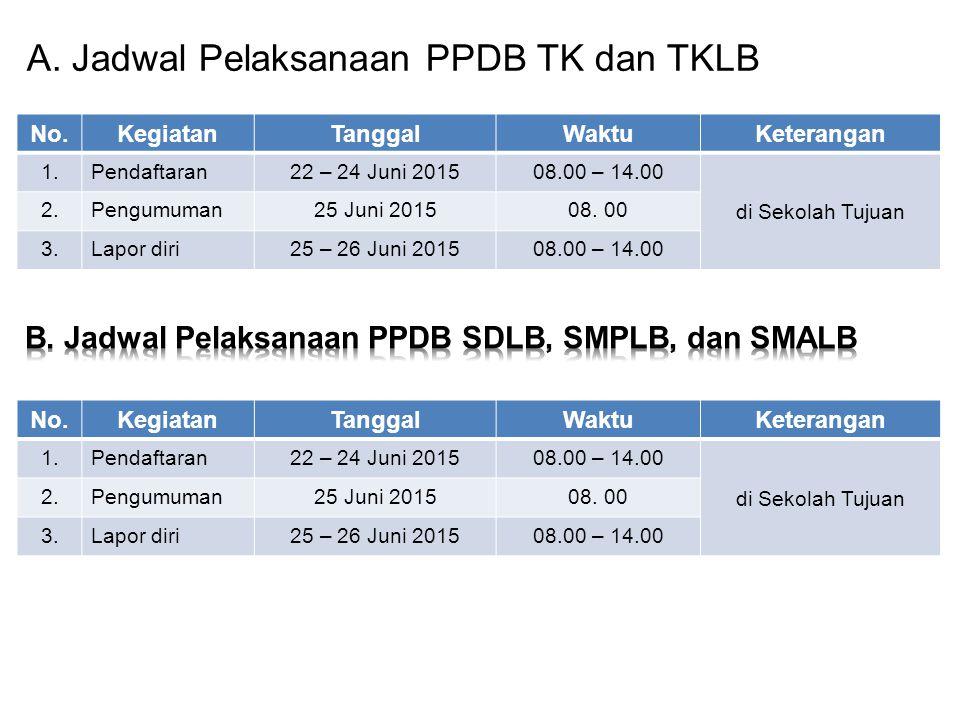 A. Jadwal Pelaksanaan PPDB TK dan TKLB No.KegiatanTanggalWaktuKeterangan 1.Pendaftaran22 – 24 Juni 201508.00 – 14.00 di Sekolah Tujuan 2.Pengumuman25