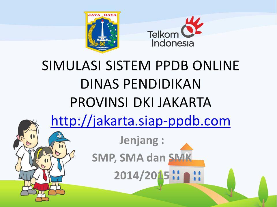 SIMULASI SISTEM PPDB ONLINE DINAS PENDIDIKAN PROVINSI DKI JAKARTA http://jakarta.siap-ppdb.com http://jakarta.siap-ppdb.com Jenjang : SMP, SMA dan SMK