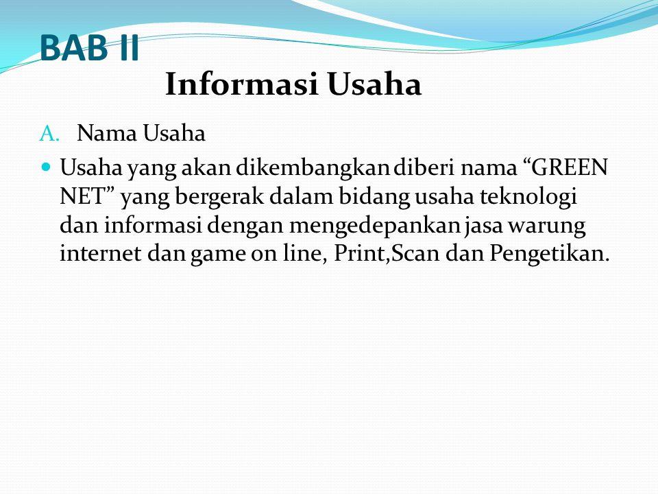 "BAB II A. Nama Usaha Usaha yang akan dikembangkan diberi nama ""GREEN NET"" yang bergerak dalam bidang usaha teknologi dan informasi dengan mengedepanka"