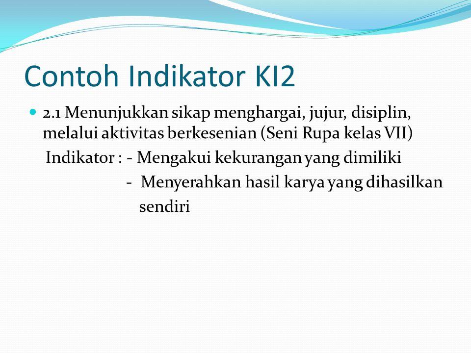 Contoh Indikator KI2 2.1 Menunjukkan sikap menghargai, jujur, disiplin, melalui aktivitas berkesenian (Seni Rupa kelas VII) Indikator : - Mengakui kek