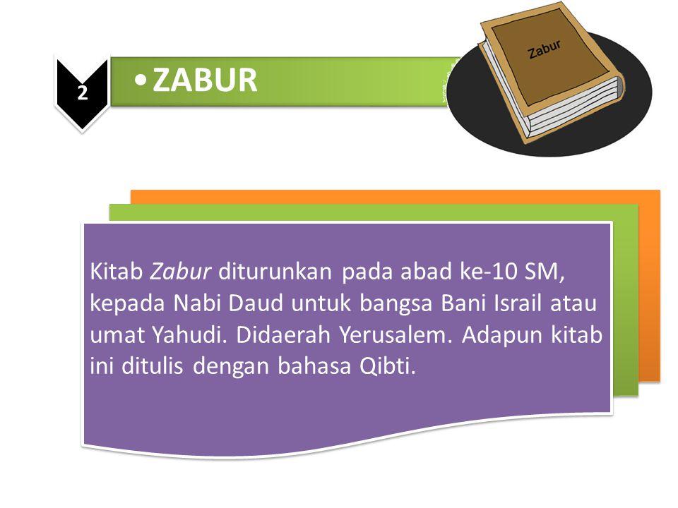 ZABUR 2 Kitab Zabur diturunkan pada abad ke-10 SM, kepada Nabi Daud untuk bangsa Bani Israil atau umat Yahudi. Didaerah Yerusalem. Adapun kitab ini di