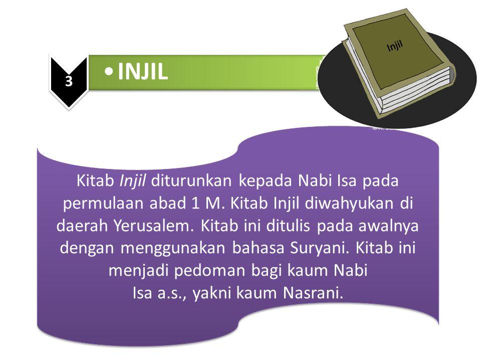 Kitab Injil diturunkan kepada Nabi Isa pada permulaan abad 1 M. Kitab Injil diwahyukan di daerah Yerusalem. Kitab ini ditulis pada awalnya dengan meng