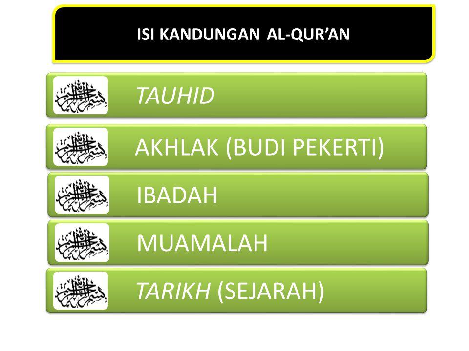 ISI KANDUNGAN AL-QUR'AN TAUHID AKHLAK (BUDI PEKERTI) IBADAH MUAMALAH TARIKH (SEJARAH)